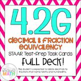 4.2G: Decimal & Fraction Equivalency STAAR Test-Prep Task Cards (GRADE 4)