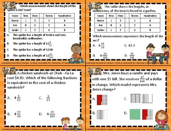 4.2G Relate Decimals to Fractions Tenths and Hundredths Word Problem Task Cards