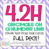 4.2H: Decimals On Number Lines STAAR Test-Prep Task Cards (GRADE 4)
