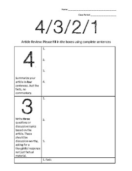 4-3-2-1 Article Review