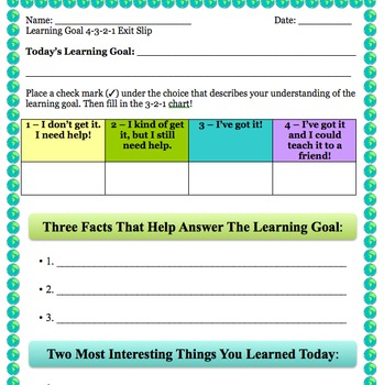 4-3-2-1 Learning Goals Exit Slip