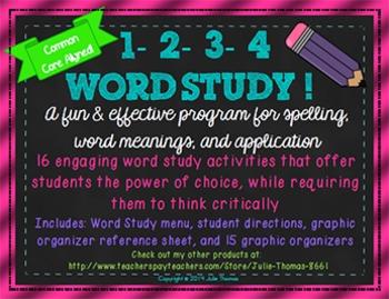 1-2-3-4 Word Study! Menu Matrix Contract-Spelling & Word Work Graphic Organizers