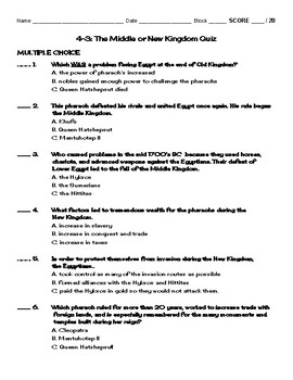 4-3: The Middle and New Kingdom Quiz  (Version 1) (Chapter 4 Section 3)