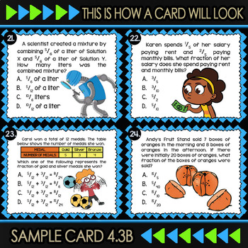 Math TEK 4.3B ★ Decomposing Fractions ★ 4th Grade Task Cards