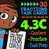 Math TEK 4.3C ★ Equivalent Fractions ★ 4th Grade Math STAAR Practice Task Cards