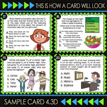 4.3D Comparing Fractions Task Cards ★ 4th Grade Math TEKS 4.3D ★ STAAR Math