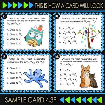4.3F Math ★ BENCHMARK FRACTIONS ★ Math TEK 4.3F ★ TEKS-Aligned Task Cards