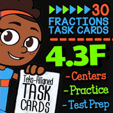 Math TEK 4.3F ★ Benchmark Fractions ★ 4th Grade STAAR Math Review Task Cards