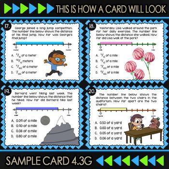 4.3G Math ★ FRACTIONS & DECIMALS ON NUMBER LINES ★ Math TEK 4.3G Task Cards