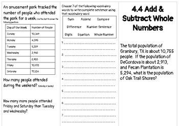 4.4 Add and Subtract Whole Numbers Brochure