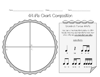 4/4 Pie Chart Composition Worksheets