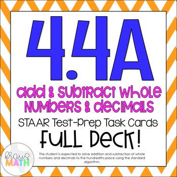 4.4A: Add & Subtract Decimals STAAR Test-Prep (GRADE 4)