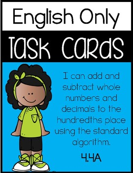 4.4A - Adding and Subtracting Whole Numbers & Decimals - ENGLISH ONLY