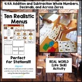 4.4A Addition & Subtraction Real World Hands-on Restaurant Menu Activity