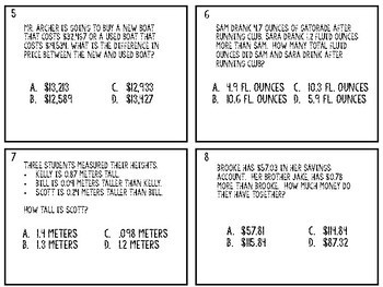 4.4A Addition Subtraction with Decimal to Hundredths Task Cards