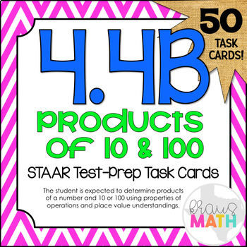 4.4B: Products of 10's and 100's STAAR Test-Prep Task Cards (5.NBT.2)