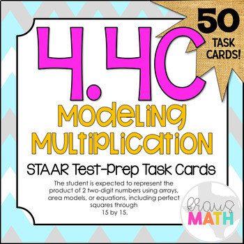 4.4C: Multiplication: Models & Equations STAAR Test-Prep Task Cards (GRADE 4)