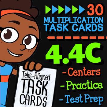 Math TEK 4.4C ★ Two-Digit Multiplication Word Problems ★ 4th Grade Task Cards