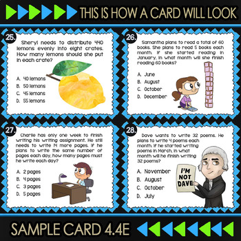 Math TEK 4 4E ★ Area Model Division & Arrays ★ 4th Grade STAAR Math Task  Cards