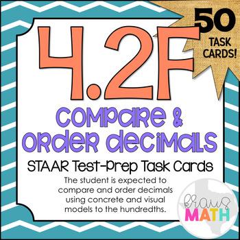 4.2F: Compare & Order Decimals STAAR Test-Prep Task Cards (GRADE 4)