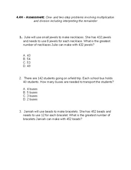 4.4H One and 2 Step Problems and Practice Interpreting remainders
