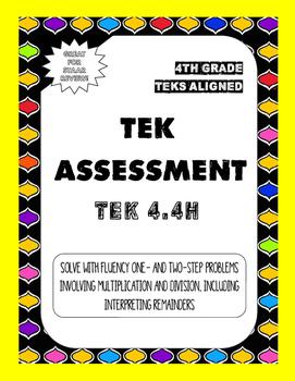 4.4H TEK Assessment Multi-Step Problems Involving Multipli