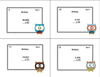4-5 Digits by 2 Digits Column Multiplication -Grade 5 Task Cards CCSS