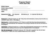 Pre-K 4-5 Year Old Progress Report