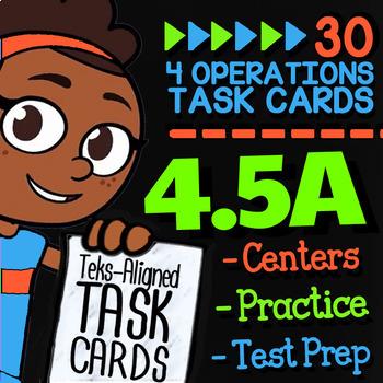 math tek 4 5a ☆ multi-step word problems ☆ 4th grade staar math task cards