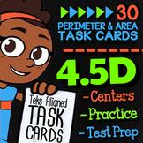 Math TEK 4.5D ★ Perimeter & Area ★ 4th Grade Math STAAR Practice Task Cards