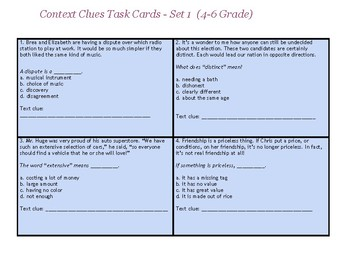4-6 Context Clues Task Cards