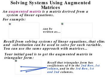 4-6 Solving Systems: Augmented Matrices