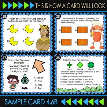 4.6B Math ★ LINES OF SYMMETRY ★ Math TEK 4.6B ★ 4th Grade STAAR Math Task Cards