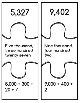 4-7 digit Math puzzle with game ideas for standard, word, and expanded form