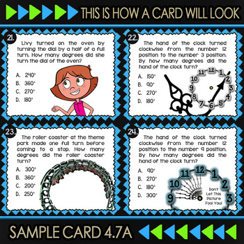 4.7A Math ★ MEASURING ANGLES 4th Grade ★ Math TEK 4.7A ★ TEKS Task Cards