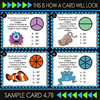 Math TEK 4.7B ★ Angles as Parts of a Circle ★ 4th Grade Task Cards