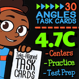 4.7C Math ★ MEASURING ANGLES WITH A PROTRACTOR ★ Math TEK 4.7C ★ TEKS Task Cards