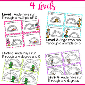 4.7C Measuring Angles with a Protractor STAAR PREP Task Cards by Marvel Math