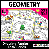 Drawing Angles with Protractors Test Prep Task Cards: 4.MD.C.6, TEKS 4.7D
