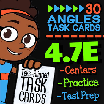 Math TEK 4.7E ★ Finding The Unknown Angle ★ 4th Grade Task Cards