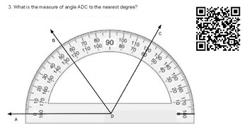 4.7c Measuring Angles with a Protractor (Pictorial) using VIDEO QR codes