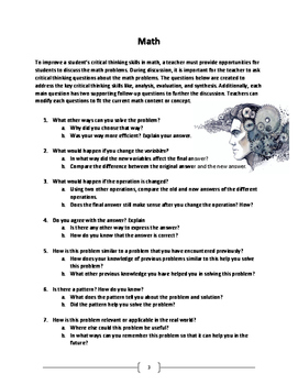 4 - 8 Grade Critical Thinking Questions Math, Reading, Science, Soc. Stud.