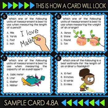 4.8A Math ★ UNITS OF MEASUREMENT ★ Math TEK 4.8A ★ TEKS-Aligned Task Cards