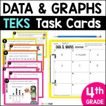 4.9A & 4.9B *STAAR Prep* Data Analysis & Graphs TEKS Task Cards