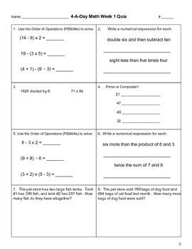 4-A-Day Math Unit 1 (Weeks 1 - 5)