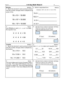 4-A-Day Math Unit 2 Part 1 (Weeks 6 - 7)
