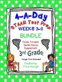 4 A Day STAAR 3rd Grade Test Prep: BUNDLE of Weeks 3-6  TX Tornado Supplement