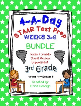 4 A Day STAAR 3rd Grade Test Prep: BUNDLE of Weeks 3-6  TX Tornado Supplement