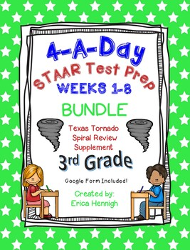 4 A Day STAAR 3rd Grade Test Prep: BUNDLE of Weeks 1-6! TX Tornado Supplement