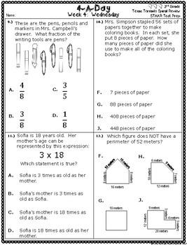 4 A Day STAAR Test Prep-Week 4 -3rd Grade Texas Tornado Spiral Review Supplement